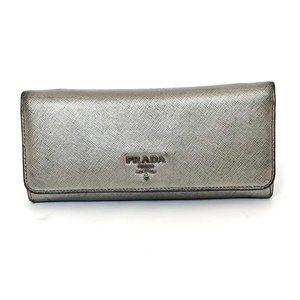 Prada Saffiano Silver Continental Wallet